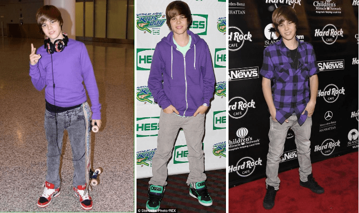 f954f4b54f770 ... skyrocketing to fame with the release of his debut single and EP, Bieber  has a clearly preferred uniform. A purple top, grey pants, and high-tops.