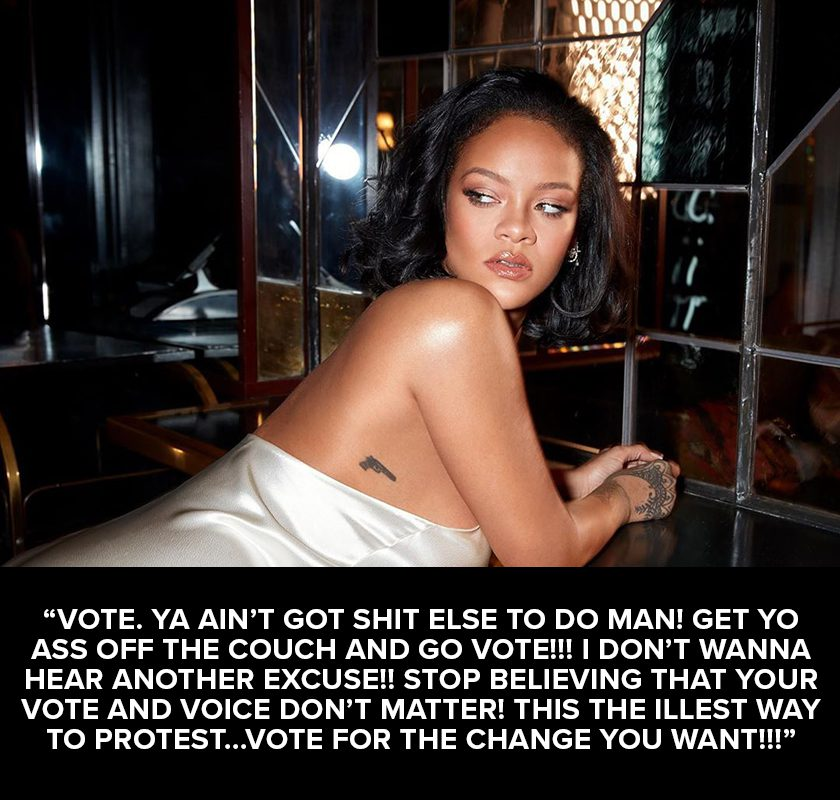 Image of Rihanna with text encouraging fans to vote.