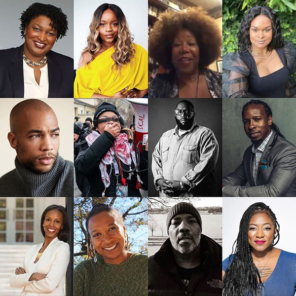 Photo collage of different Black activists who worked with Selena Gomez